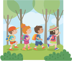 Image of children walking on a trail