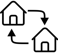 Image of two homes with a circular arrow