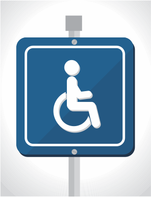 Accessibility sign for a wheel chair